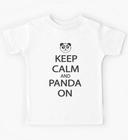 Keep Calm and Panda On Baseball Shirt Kids Tee