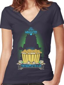 The Souffle' Is A Lie (eggggsTERMINATE!) Women's Fitted V-Neck T-Shirt