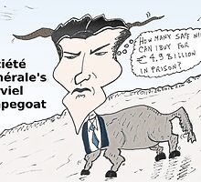Business cartoon of Jerome Kerviel the scapegoat by Binary-Options