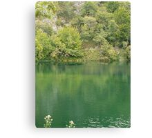 Green mountain lake Canvas Print