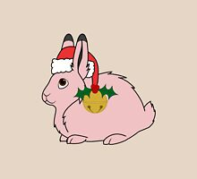 Light Pink Arctic Hare with Santa Hat, Holly & Gold Bell Unisex T-Shirt