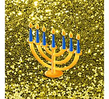 Yellow Menorah Gold Faux Glitter Photographic Print