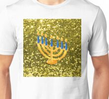Yellow Menorah Gold Faux Glitter Unisex T-Shirt