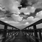 The Wood bridge in blue sky(B&W) by arthit somsakul