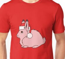 Light Pink Arctic Hare with Christmas Red Santa Hat Unisex T-Shirt