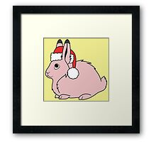 Light Pink Arctic Hare with Christmas Red Santa Hat Framed Print