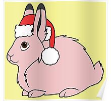 Light Pink Arctic Hare with Christmas Red Santa Hat Poster