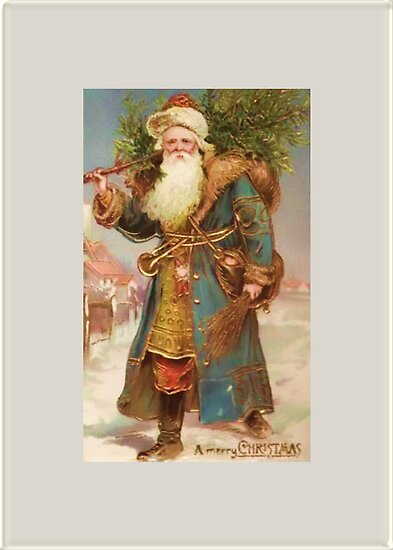 A Merry Christmas-Vintage Santa with Tree Christmas Card by Pamela Phelps
