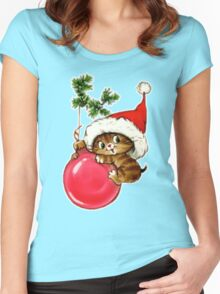 Cute Christmas Kitten  Women's Fitted Scoop T-Shirt