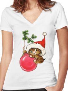 Cute Christmas Kitten  Women's Fitted V-Neck T-Shirt