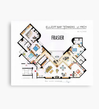 Frasier Apartment Floorplan Canvas Print