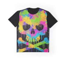 Abstract Trendy Graffiti Watercolor Skull  Graphic T-Shirt