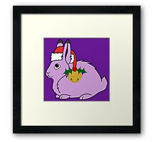 Light Purple Arctic Hare with Santa Hat, Holly & Gold Bell Framed Print