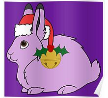 Light Purple Arctic Hare with Santa Hat, Holly & Gold Bell Poster