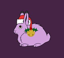 Light Purple Arctic Hare with Santa Hat, Holly & Gold Bell Unisex T-Shirt