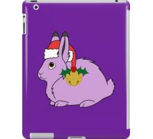 Light Purple Arctic Hare with Santa Hat, Holly & Gold Bell iPad Case/Skin