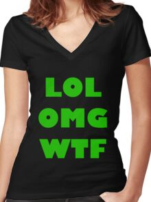LOL OMG WTF 4 Women's Fitted V-Neck T-Shirt