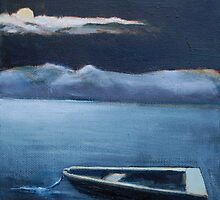 Lone Skiff in the Blue Moon by Phyllis Dixon