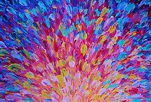 SPLASH, Revisited - Bold Beautiful Feminine Romance Ocean Beach Waves Abstract Acrylic Magenta Crimson by EbiEmporium
