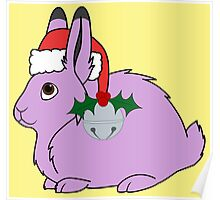 Light Purple Arctic Hare with Santa Hat, Holly & Silver Bell Poster