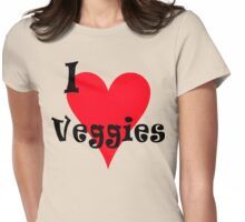 "Vegetarian ""I Love Veggies"" T-Shirt Womens Fitted T-Shirt"