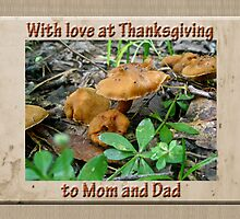 Mom and Dad Thanksgiving Greeting Card - Mushrooms by MotherNature