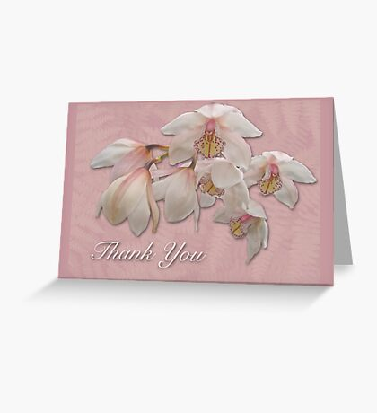 Thank You Greeting Card - Pink and White Orchid Greeting Card