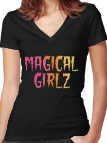 Magical Girlz Rock Black D1 Women's Fitted V-Neck T-Shirt