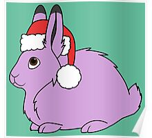 Light Purple Arctic Hare with Christmas Red Santa Hat Poster