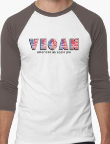 Vegan American As Apple Pie Men's Baseball ¾ T-Shirt