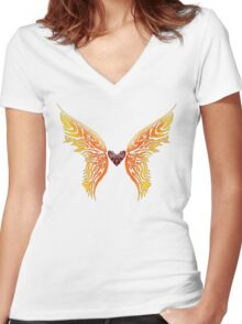 Winged Tribal Heart Women's Fitted V-Neck T-Shirt