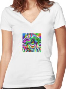 Psychedelic Rainbow Abstract Pattern Women's Fitted V-Neck T-Shirt