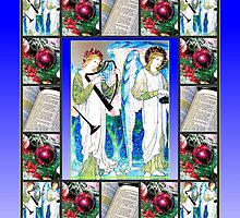 Angel Musicians Christmas Collage by Kathryn Jones
