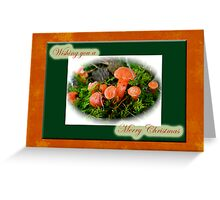 Merry Christmas Greeting Card - Tiny Orange Mushrooms Greeting Card