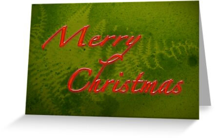 Merry Christmas Greeting Card - Green With Fern Design by MotherNature