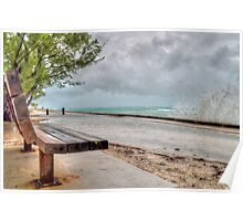 The Bench at Yamacraw facing the Hurricane Sandy on Eastern Road in Nassau, The Bahamas Poster