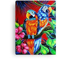 """""""Parrots''  2.300$ original oil on canvas. Canvas Print"""