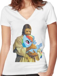 Jesus Loves Rainbow Dash Women's Fitted V-Neck T-Shirt