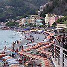 beach strip Monterrosso-Cinque Terre  by Karen E Camilleri