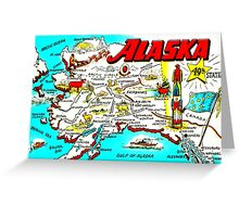 Vintage Alaskan Map Design Greeting Card