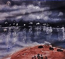 Across the Bay, watercolor by Anna  Lewis