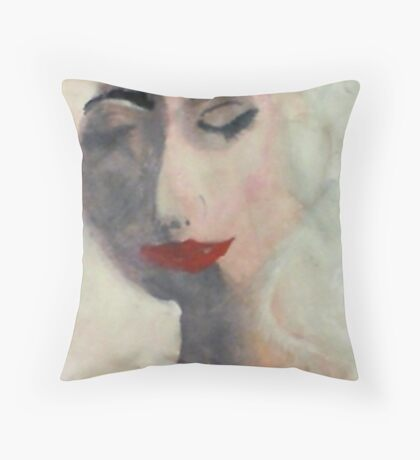 The face of a woman, watercolor Throw Pillow