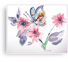 red admiral on plum blossom 54 Canvas Print