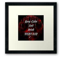 Keep Calm & Drink Vervain Black & Red Round VD Logo Framed Print