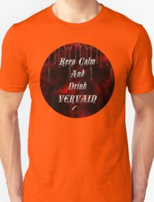 Keep Calm & Drink Vervain Black & Red Round VD Logo Unisex T-Shirt