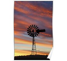 Windmill Sunset Poster