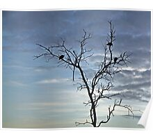 Dry tree silhouette with guinea fowl Poster