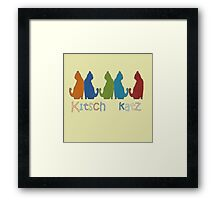Kitsch Cats Silhouette Cat Collage Pattern Isolated Framed Print
