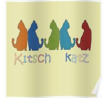 Kitsch Cats Silhouette Cat Collage Pattern Isolated Poster