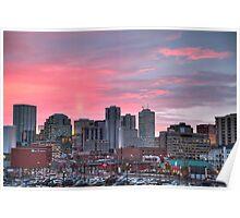 Sunrise Over Downtown Edmonton Poster